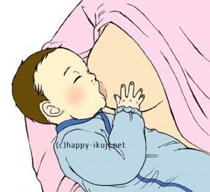 ハッピー育児アヒル口で授乳するあかちゃん